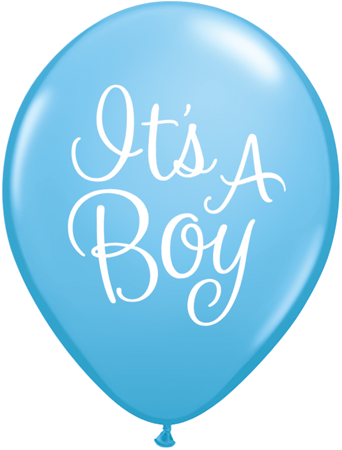 "11"" Redondo, Azul Claro, It's A Boy, Latex Escritura Clasica"