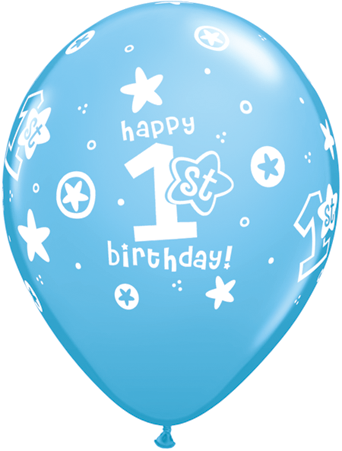 "11"" Redondo Azul Claro, Happy 1st Birthday, Latex Corazoncitos"