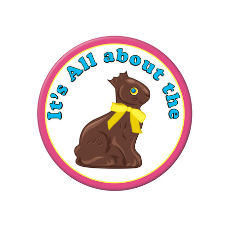 Chocolate Bunny Button, Size 3½""