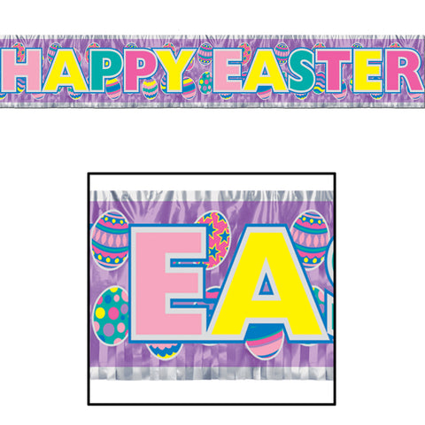 "Metallic Happy Easter Fringe Banner, Size 8"" x 5'"