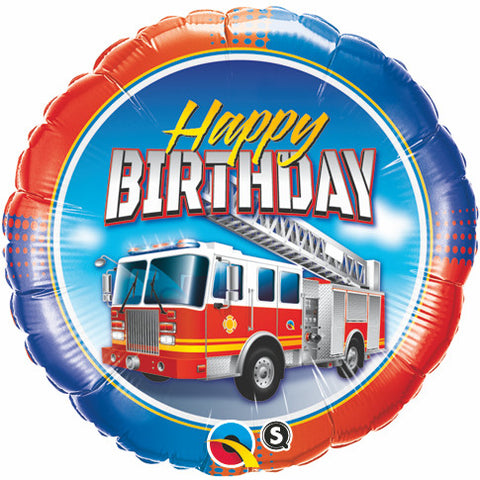 "18"" Redondo, Happy Birthday, Camion de Bomberos"