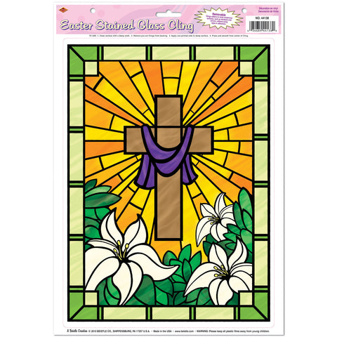 "Easter Stained Glass Cling, Size 12"" x 17"" Sh"