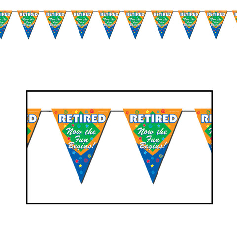"Retired The Fun Begins! Pennant Banner, Size 11"" x 12'"