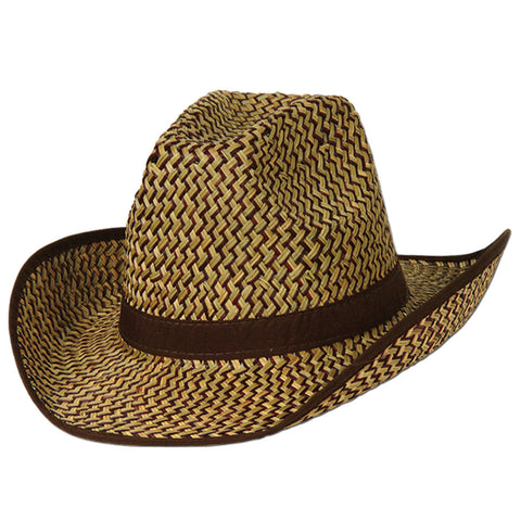 2-Tone Western Hat w/Brown Trim & Band