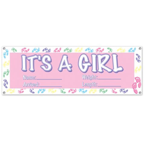 It's A Girl Sign Banner, Size 5' x 21""