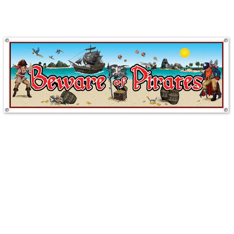 Beware Of Pirates Sign Banner, Size 5' x 21""