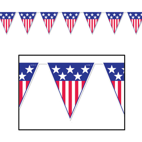 "Spirit Of America Pennant Banner, Size 11"" x 12'"