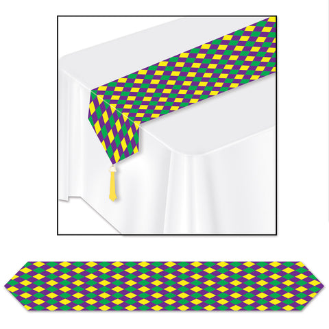 "Printed Mardi Gras Table Runner, Size 11"" x 6'"