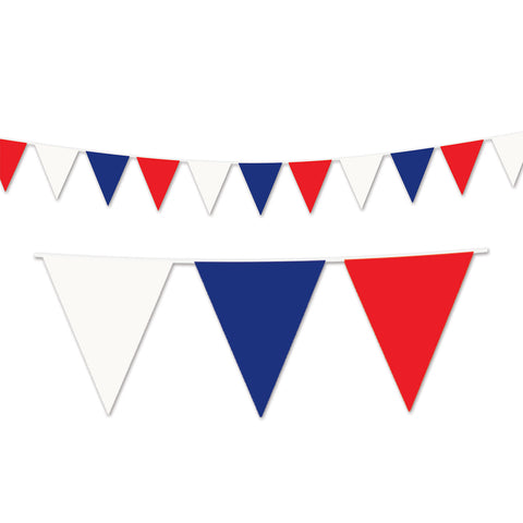 "Red, White & Blue Pennant Banner, Size 17"" x 120'"