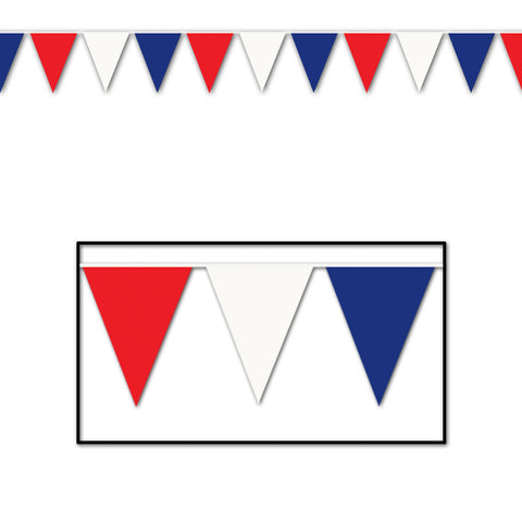 "Red, White & Blue Pennant Banner, Size 17"" x 30'"