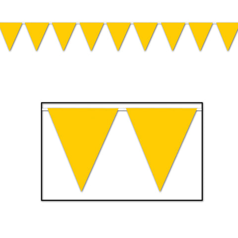"Golden-Yellow Pennant Banner, Size 11"" x 12'"