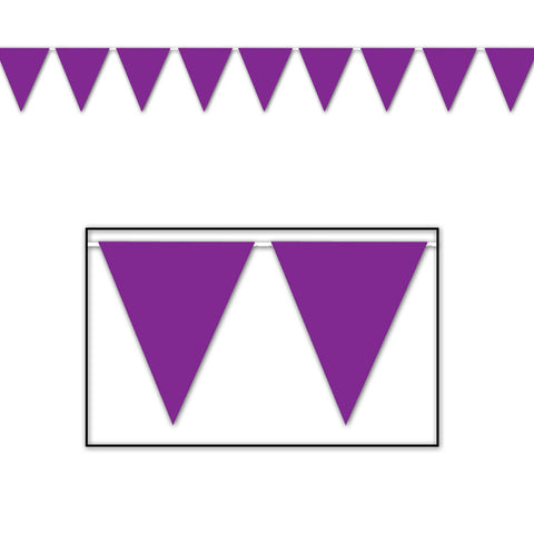 "Purple Pennant Banner, Size 11"" x 12'"