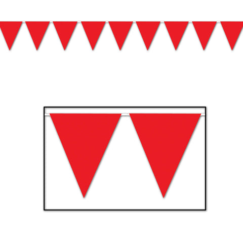 "Red Pennant Banner, Size 11"" x 12'"