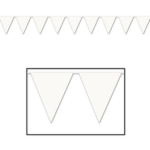 "White Pennant Banner, Size 11"" x 12'"