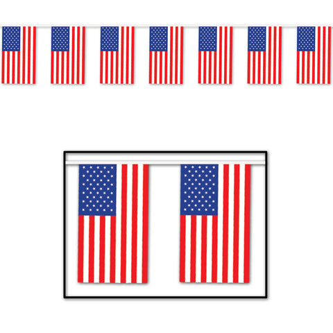 "American Flag Pennant Banner, Size 17"" x 60'"
