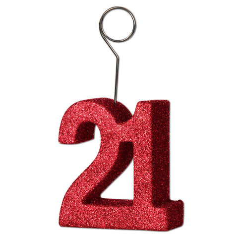 Glittered  21  Photo/Balloon Holder, Size 6 Oz