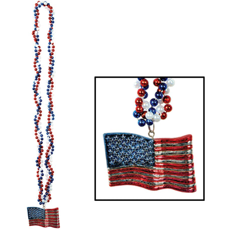Braided Collares w/American Flag Medallion, Size 36""