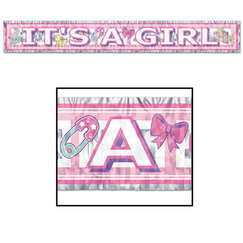 "Metallic It's A Girl Fringe Banner, Size 8"" x 5'"