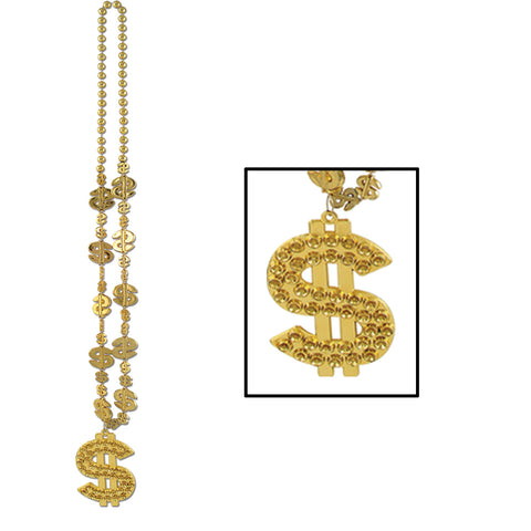 $  Collares w/ $  Medallion, Size 33""