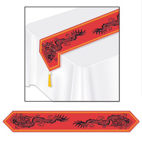 "Printed Asian Table Runner, Size 11"" x 6'"