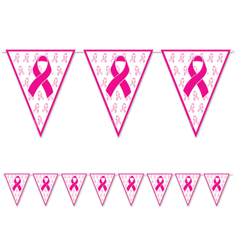 "Pink Ribbon Pennant Banner, Size 11"" x 12'"