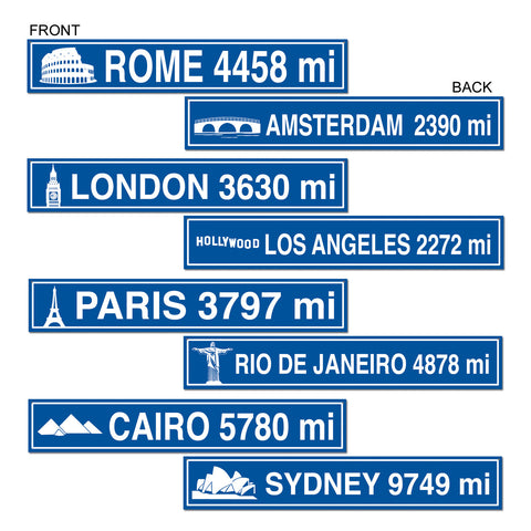 "Travel Street Sign Recortes, Size 4"" x 24"""