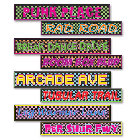 "80's Street Sign Recortes, Size 4"" x 24"""