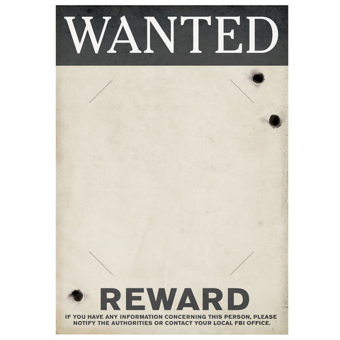 "Gangster Wanted Sign, Size 17"" x 12"""