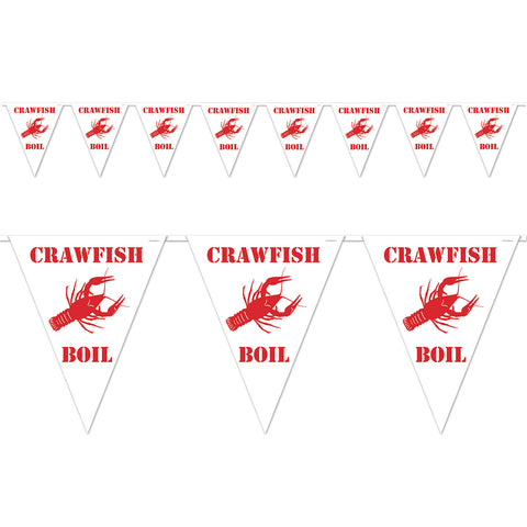 "Crawfish Boil Pennant Banner, Size 11"" x 12'"