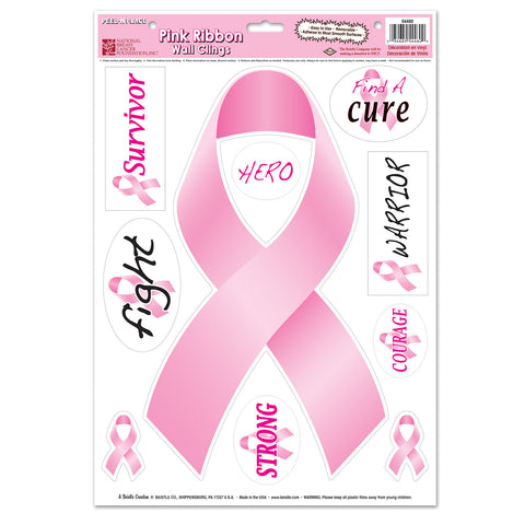 "Pink Ribbon/Find A Cure Peel 'N Place, Size 12"" x 17"" Sh"