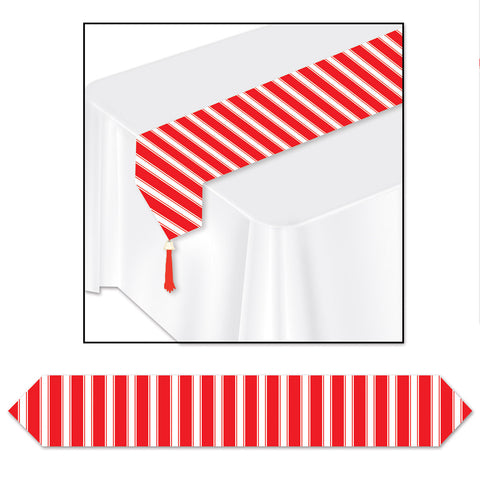 "Printed Red & White Stripes Table Runner, Size 11"" x 6'"