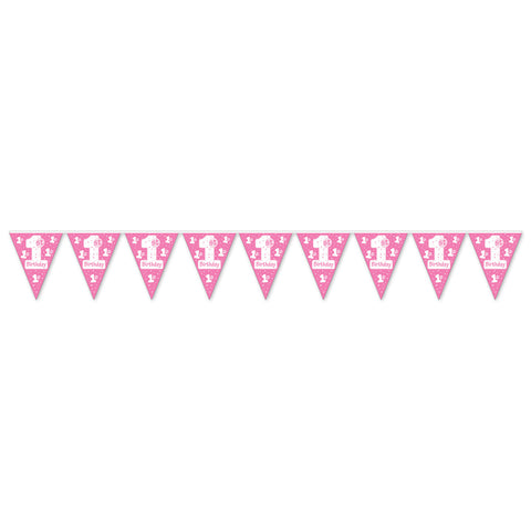 "1st Birthday Pennant Banner, Size 11"" x 12'"