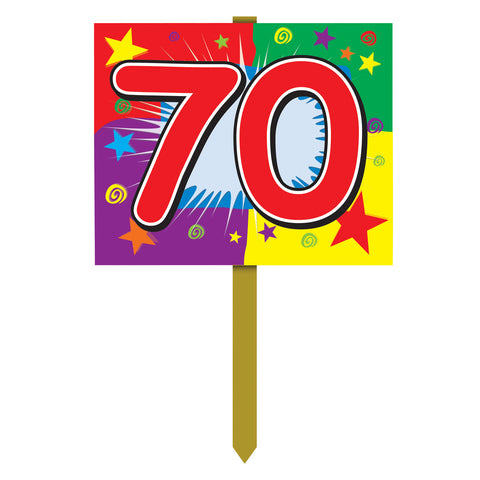"70  Birthday Yard Sign, Size 12"" x 15"""