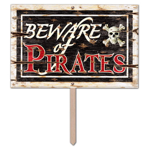 "3-D Plastic Beware Of Pirates Yard Sign, Size 12"" x 18"""