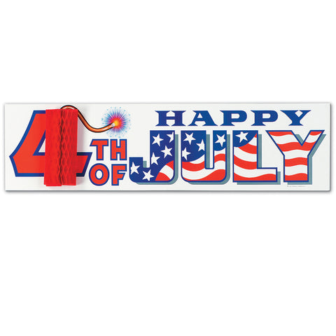 "4th Of July Sign w/Tissue Firecracker, Size 8"" x 31"""