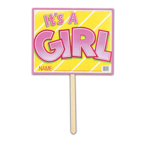 "It's A Girl Yard Sign, Size 12"" x 15"""
