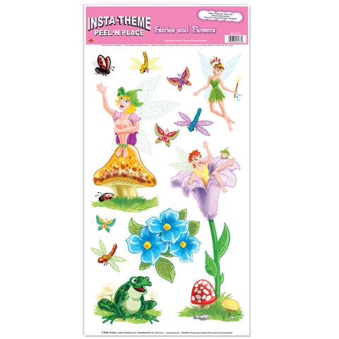 "Fairies & Flowers Peel 'N Place, Size 12"" x 24"" Sh"