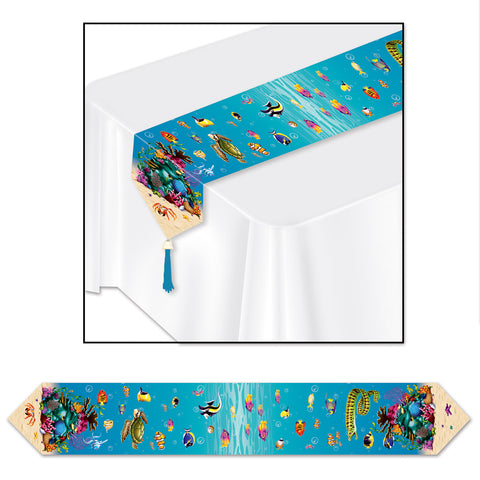 "Printed Under The Sea Table Runner, Size 11"" x 6'"