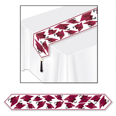 "Printed Grad Cap Table Runner, Size 11"" x 6'"