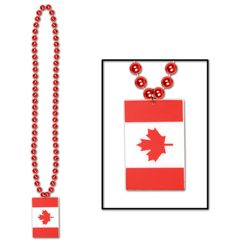 Collares w/Printed Canadian Flag Medallion, Size 36""