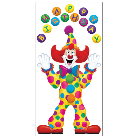 "Birthday Clown Door Cover, Size 30"" x 5'"