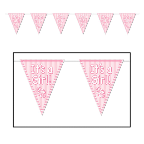 "It's A Girl! Pennant Banner, Size 11"" x 12'"