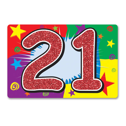 "Glittered  21  Sign, Size 10"" x 15"""