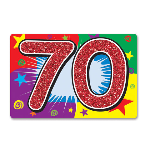 "Glittered  70  Sign, Size 10"" x 15"""