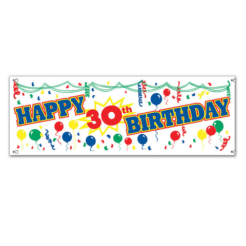 Happy  30th  Birthday Sign Banner, Size 5' x 21""