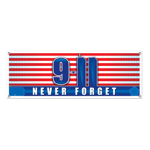 9/11 Never Forget Sign Banner, Size 5' x 21""
