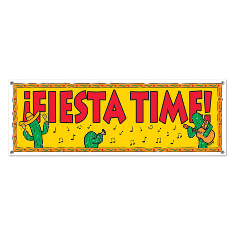Fiesta Time! Sign Banner, Size 5' x 21""