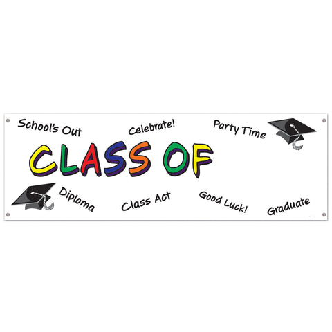 Class Of  Year  Sign Banner, Size 5' x 21""