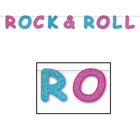 "Glittered Rock & Roll Streamer, Size 8½"" x 8'"