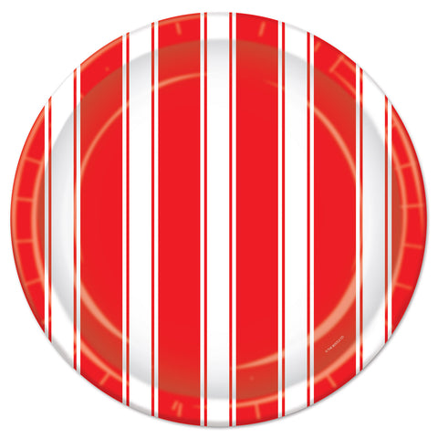 Red & White Stripes Plates, Size 9""